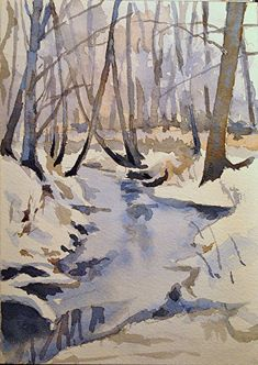 Watercolor Tutorial: Painting a Winter Stream Watercolor Landscape Tutorial, Watercolor Video, Watercolor Trees, Watercolour Tutorials, Watercolor Artists, Watercolor Techniques, Watercolor Paintings, Watercolours, Abstract Paintings