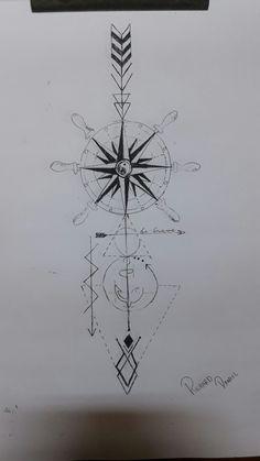 Tatuagem referências, yin yang, flecha, âncora, Harry Potter, be  Brave, rosa dos ventos, geometrica, timao.