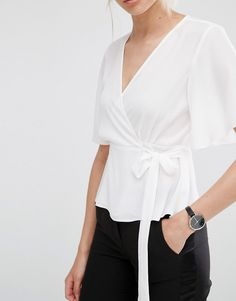 Image 3 of ASOS Tea Blouse with Wrap Front