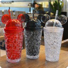 Keythemelife Cartoon 450ML Milk Smoothie Iced Coffee Juice Water Plastic Drink Bottle Beaker Lid With Straw Drinkware 4D