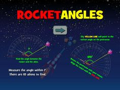 Rocket Angles - Obtuse, acute, or right? A protractor will guide your rocket's flight! Geometry Games, Area And Perimeter, Protractor, Math Games, Angles, Activities