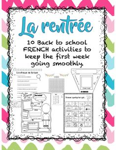 Great resource for the first week back to school.Includes:All about me page (3 versions - grade 1,2,3)Secret Picture using 100s chartWord search (numbers 1-20)Trouve quelqu'un qui... bingoOur classroom rules pageMy family pageColoring page using math (1-12)2 Search and find pictures (l't and school themed)All about me bannerTreasure hunt to get to know the class room