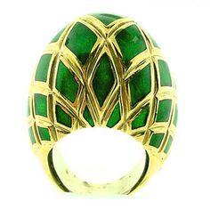 Green Enamel Dome Ring