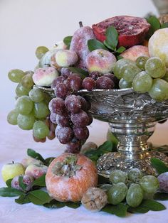 Sugared Fruit Centerpiece with silver and glass candlesticks for your Winter Wedding.