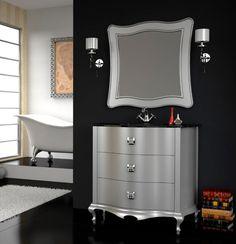 Mueble de baño de lujo Roma plata brillo