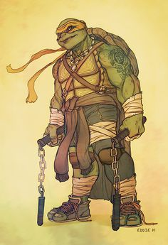 TMNT - Michelangelo (WHY DOES HE HAVE A TATOO?!) Why does he have a tattoo? I don't know. BUT HE LOOKS LIKE A BEAST. GO MIKEYYY
