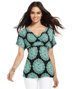 INC International Concepts Top, Short-Sleeve Cowl-Neck Printed Pleated - Womens Tops - Macy's