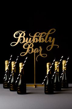 """Bachelorette party idea - """"Bubbly bar"""" with mini bottles of champagne + black and white straws {Courtesy of Etsy} Bubbly Bar, Champagne Bar, Champagne Birthday, Champagne Toast, Champagne Bottles, Great Gatsby Party, Nye Party, 1920 Theme Party, 30th Party"""