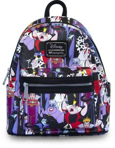 Disney Villains Print faux-leather Mini-Backpack - Loungefly - Disney - Backpacks at Entertainment Earth Disney Purse, Disney Disney, Disney Handbags, Disney Gift, Disney Stuff, Mini Mochila, Mini Backpack Purse, Faux Leather Backpack, Leather Backpacks