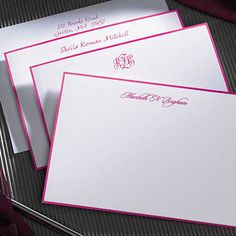 The hot pink border on white cards (6.25 x 4.5) is applied by hand to this set of 25 cards & envelopes.  Your name or monogram is featured in hot pink raised ink. Two line return address on envelopes is also available.  Lettering format and positioning only as shown.