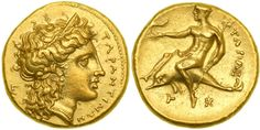 """Calabria, Tarentum/Taras. Gold Half Stater (4.26g) struck ca. 334-332 BC. TAPANTINΩN. Head right of Hera, wearing stephane, triple-pendant earring and beaded necklace, hair falling in waves down her neck; to left, E. Reverse: TAPAΣ. Naked Taras riding dolphin left, holding a small dolphin left on his outstretched right hand, trident in left.   Natural honey color toning. A magnificent example of the finest style. Superb Extremely Fine.  15,000 - 20,000.  """"E"""" is probably a signed master die."""