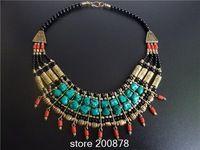 Tnl575 echte tibetaanse sieraden groothandel leverancier kleurrijke nep tibetaanse koraal turquoise multi- layer kralen ketting nieuwe aankomst