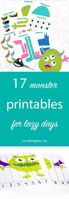 17 free monster printable downloads for an afternoon with busy, happy kids