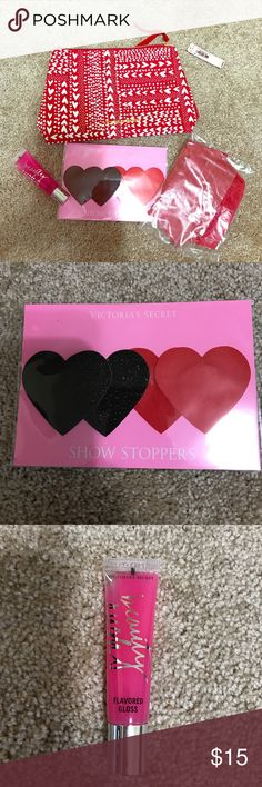 🎀🎀VICTORIA SECRET POUCH🎀🎀 💋💋Comes with Beauty Rush lip gloss, show stoppers and VS underwear💋💋Regular Price 💲39.50➕tax💋💋 Victoria's Secret Other