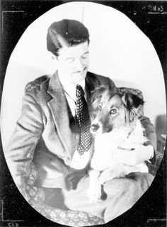 """Eric Knight, author of 'Lassie Come Home', with """"Toots."""" English-born and raised, he survived WWI as a Canadian soldier only to later die in WWII as a US Special Services soldier. He and his second wife bred collies. His mother, at one time, was governess to the Russian Imperial Family."""
