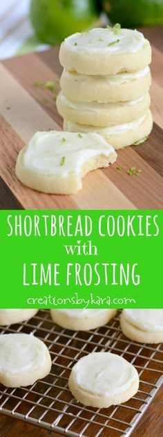 Shortbread Cookies with Lime Cream Cheese Frosting ~ These cookies just melt in your mouth, and the lime frosting is AMAZING!