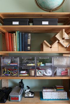 Erin Zamrzla's studio. The most-used tools are in clear drawers for easy access. Our studio is included in the Summer 2012 issue of Studios Magazine. Photo by Ben Schlitter.