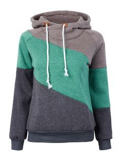 Sale 30% (23.38$) - Casual Women Long Sleeve Patchwork Hooded Sport Pullover Sweatshirt