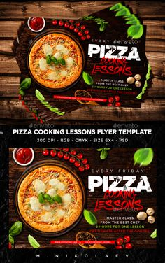 Buy Pizza Cooking Lessons Flyer by MaksN on GraphicRiver. File info: Flyer Name: Pizza Cooking Lessons Flyer Size: with bleed Mode: CMYK-RGB Files included: 2 PSD Edi. Pizza Flyer, Menu Flyer, Restaurant Poster, Burger Restaurant, Pizza Sale, Psd Free Download, Burger Menu, Sale Flyer, Best Chef