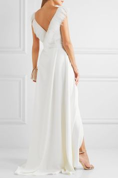 HALFPENNY LONDON Francis feather-trimmed crepe de chine wrap gown