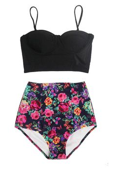 Black Midkini Underwire Top and Floral Printed High by venderstore