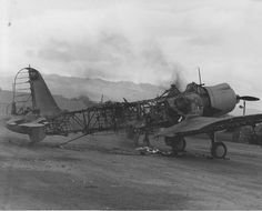 """fujisan-ni-noboru-hinode: """"A destroyed Vindicator at Ewa field, the victim of one of the smaller attacks on the approach to Pearl Harbor. Pearl Harbor History, Pearl Harbor Day, Pearl Harbor Attack, Remember Pearl Harbor, Uss Lexington, Imperial Japanese Navy, Ww2 Photos, Us Marine Corps, Remembrance Day"""