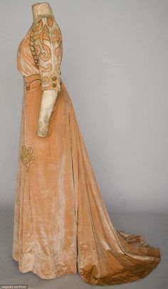 Augusta Auctions: velvet day ensemble, metallic gold cord trim, with embroidered net blouse insert c. 1910