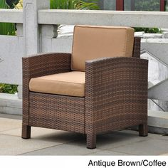 International Caravan Barcelona Resin Wicker/Aluminum Armchair with Seat and Back Cushions