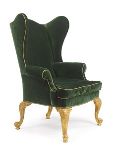 A George II giltwood wing armchair. Re-gilt, restorations.  height 4 ft. 1 in. / 124.5 cm