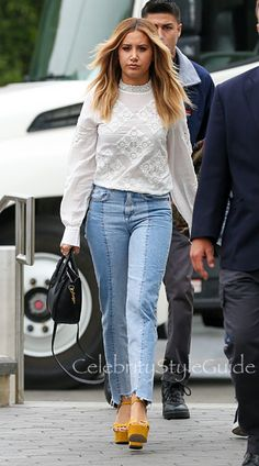Ashley Tisdale and H&M Slim Regular Ankle Jean, Celine Nano Luggage Mini Tote Bag, H&M Lace Blouse. See the latest Ashley Tisdale style, fashion, beauty, trends, wardrobe and accessories.