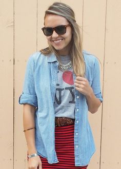 I Heart NY: Wearing JCrew chambray shirt, Madewell striped skirt, and F21 Statement Necklace.