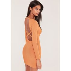 Missguided Orange Ribbed Cross Back Bodycon Mini Dress ($14) ❤ liked on Polyvore featuring dresses, peach, bodycon mini dress, mini dress, long-sleeve mini dress, sexy long sleeve dresses and sexy mini dress