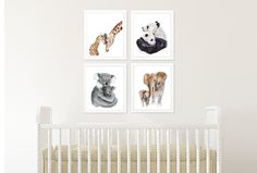 Set of 4 Jungle Nursery Prints, Mom and Baby Animal Portraits - Elephant, Giraffe, Koala and Panda - Various Sizes. Set of 4 Jungle Nursery prints of Mom and Baby Animal portraits taken from my original watercolors, including a baby elephant, baby giraffe, baby koala and baby panda. QUALITY: Jungle Nursery prints printed with highest quality archival inks and fine art papers to ensure print set will last and be enjoyed for years to come. DETAILS: Choose 5x7, 8.5x11, 11x14, 13x19 or 18x24…
