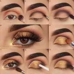 60 Easy Eye Makeup Tutorial For Beginners Step By Step Ideas(Eyebrow& Eyeshadow) - gold eyeshadow looks ideas step by step for beginners, eye makeup for prom, eye makeup look ideas , eye makeup ideas for blue eye. Prom Eye Makeup, Gold Eye Makeup, Simple Eye Makeup, Smokey Eye Makeup, Makeup Box, Gold And Brown Eye Makeup, Gold Makeup Looks, Clown Makeup, Smoky Eye