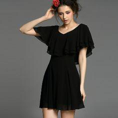 Bohemia Solid High Waist V-Neck Slim Chiffon Black Dresses