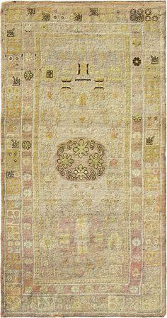 "ANTIQUE SAMARKAND Origin: EAST TURKESTAN Size: 4' 8"" x 9' 2"" Rug ID # 1168"