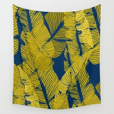 Carved Yellow&Blue Jungle #society6 #decor #buyart Wall Tapestry. #drawing #tropical #banana #leaf #exotic #pattern #nature #botanical #summer #yellow #blue #bright #desert #vacation #cool