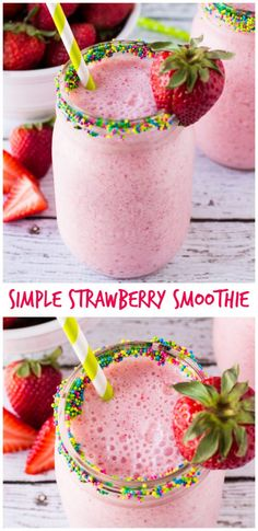 make this Simple Strawberry Smoothie all the time. And the SPRINKLES make a fun breakfast drink! Yummy Smoothies, Breakfast Smoothies, Smoothie Drinks, Yummy Drinks, Healthy Drinks, Yummy Food, Simple Smoothie Recipes, Healthy Milk, Homemade Smoothies