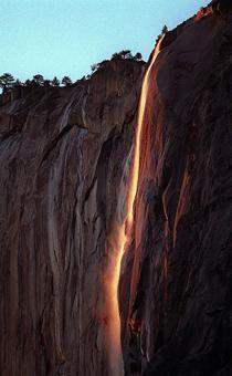 Yosemite waterfall turns to 'lava'