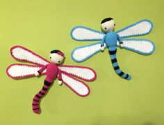 Dragonflies Dave and Lisa made by Estrella RM - crochet pattern by Zabbez
