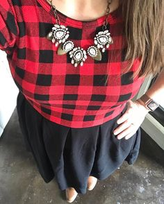 LuLaRoe Amelia #buffaloplaid #colorblock with booties and statement necklace and LuLaRoe Leggings