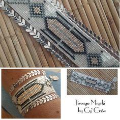 Bracelet Manchette tissée Miyuki et chaîne épi fermoir mousqueton.  Le bracelet est finement tissé avec des perles de Miyuki du Japon.  Ce sont des perles de verre ultra fi - 18354032