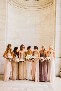 Chic mismatched bridesmaid dresses in metallic colors.   See more: Mix It Up: 15 Mix and Match Bridesmaid Dresses Done Right   mysweetengagement.com   #mixandmatchbridesmaiddresses #bridesmaids #bridesmaiddresses