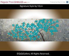 Original Oil Abstract Painting  Impasto Landscape by QiQiGallery, $157.25