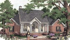 This Southern-style house is a dream with its beautiful bay windows and inviting entryway.  House Plan # 311061.