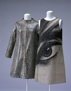 "Dresses: LEFT - ca. 1965, American, Op-Art printed check-patterned vinyl, RIGHT - ""Poster Dress"", Harry Gordon, ca. 1968"