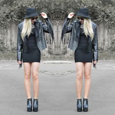 My Depop Black Hat, Fashion Bible  Fringed Jacket, Sammydress Cutout Dress, Jolly Chic Harness Boots