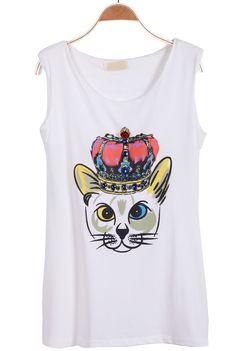 White Sleeveless Cat King Print Vest - Sheinside.com