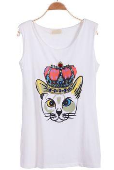 White Sleeveless Cat King Print Vest - Sheinside.com