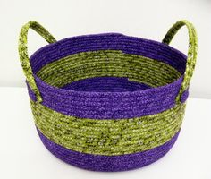 Large Fabric Coiled Basket in Purple and Chartreuse by DMcGettigan, $49.00